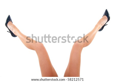 picture of a woman's open legs over white