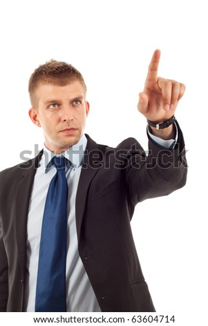 picture of a young business man pushing an imaginary button