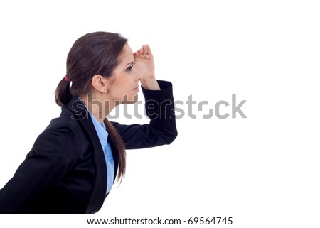 picture of a young business woman looking forward over white