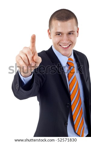 picture of a young businessman pushing an imaginary button