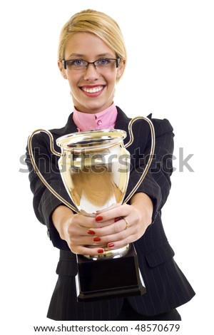 picture of an attractive businesswoman winning a gold cup