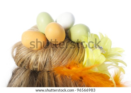 Photo of Picture of an easter girl dressed in yellow, with eggs in her hair, on a white, isolated background
