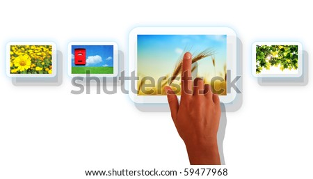 Picture of arm pressing the button with photo