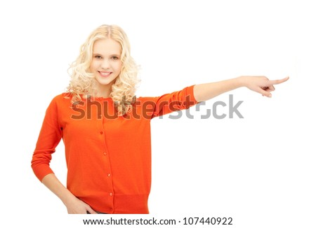 picture of attractive student pointing her finger