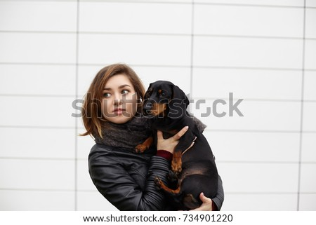 Picture of attractive young woman dog owner posing with her lovely four legged friend at blank tile wall with copy space for your text of advertising content. Blue eyed girl hugging her pet dog