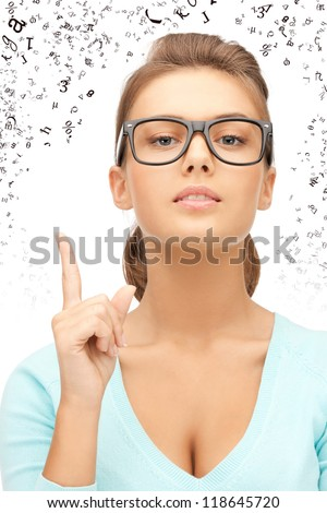 picture of attractive young woman showing finger up - stock photo