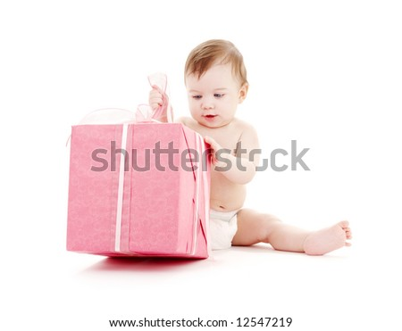 picture of baby boy in diaper with big gift box