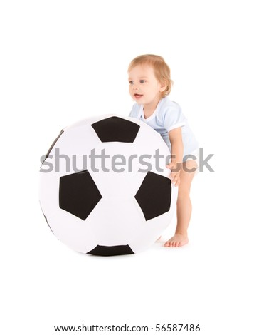 picture of baby boy with soccer ball over white