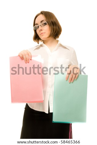 Picture of beautiful businesswoman in white offering green and red folders