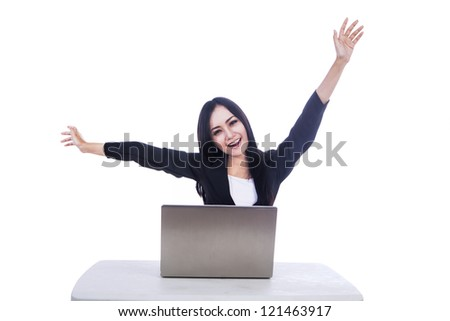Picture of beautiful businesswoman who succeed in her job isolated over white
