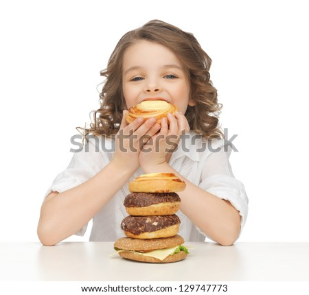 picture of beautiful girl with junk food