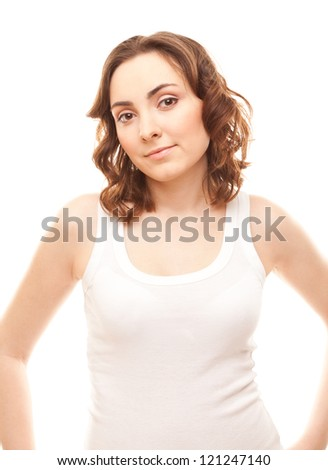 Picture of beautiful woman in t-shirt isolated on white