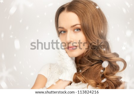 picture of beautiful woman in white gloves.