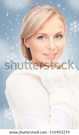 picture of beautiful woman in white sweater.