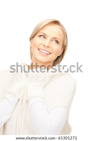 picture of beautiful woman in white sweater - stock photo