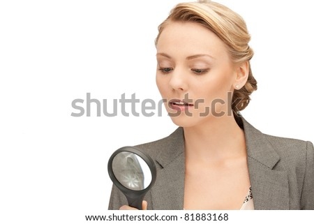 picture of beautiful woman with magnifying glass
