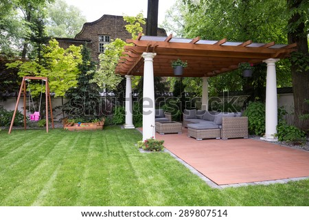 Picture of beauty garden with modern gazebo