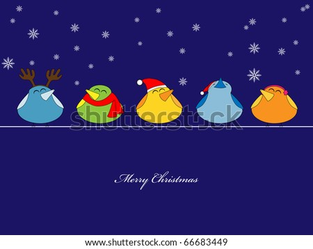 Picture of birds singing christmas songs on blue background