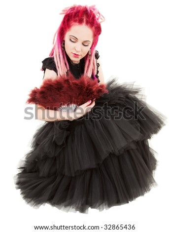 picture of bizarre pink hair girl with fan