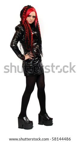 Picture of bizarre red hair Gothic Girl over white. Great for calendar.