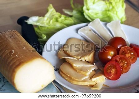 Picture of breakfast with cheese and vegetable
