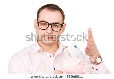 picture of businessman with piggy bank and money