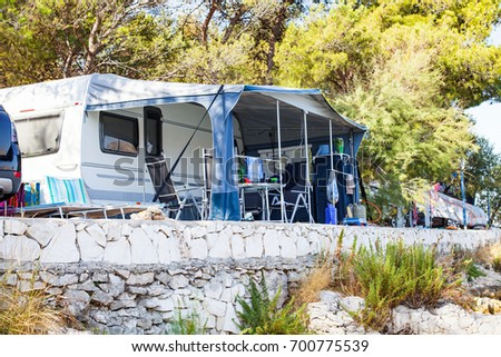 Picture of camper vans by the Adriatic Sea in Trogir's camping place, Croatia