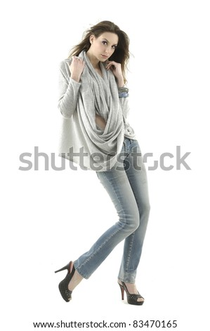 picture of casual young woman in blue jeans