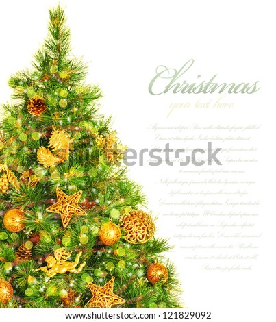 Picture of Christmas tree border, green pine tree decorated with cone, ribbons, golden angels and bauble isolated on white background, copy space, traditional celebration, New Year event, studio shot
