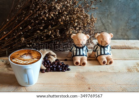 Picture of coffee cup merry x' mas top view on old wooden