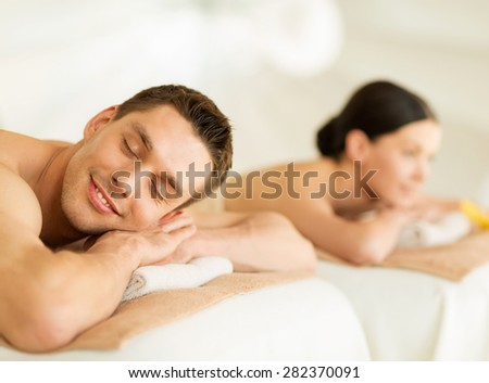 picture of couple in spa salon lying on the massage desks #282370091