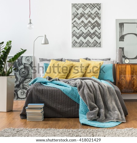 Picture of cozy bedroom in modern style