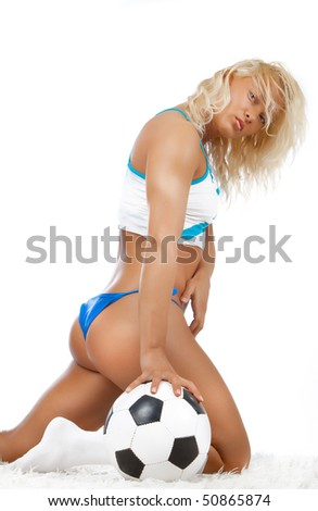 Picture of cute woman holding a ball