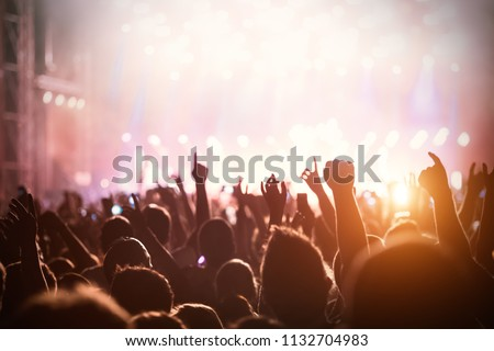 Picture of dancing crowd at music festival #1132704983