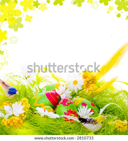 Picture of Decorative eggs in the nest and framed rendered flowers
