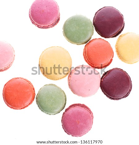 Picture of different colored macaroons on a white isolated background