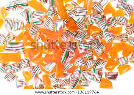 Picture of different sweets and candy on a white isolated background