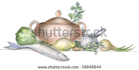 stock photo : Picture of different vegetables, fish and tableware over white background