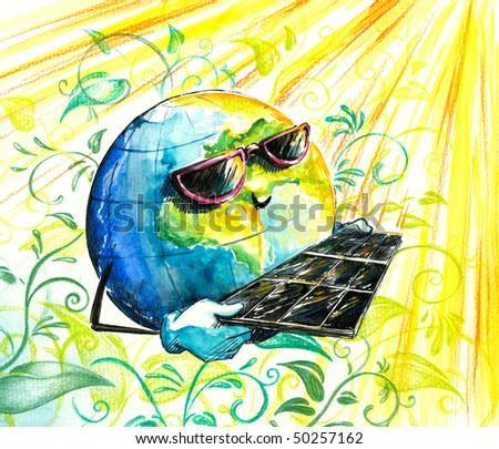 Picture of earth in sun glasses with solar panels.Image I have created myself with watercolors.