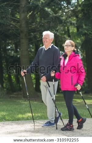 Picture of elder pair strolling with trekking sticks