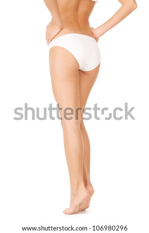 picture of female legs in white bikini panties