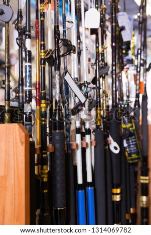 Picture of fine fishing rods for fishing in the sports shop