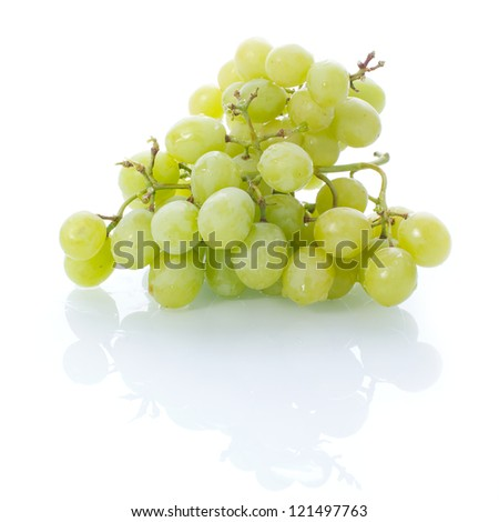 Picture of fresh green grapes on a white, isolated background