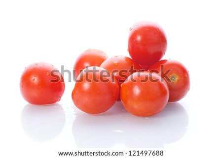 Picture of fresh red tomatoes on a white, isolated background