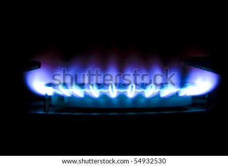 Picture of gas flame in darkness.