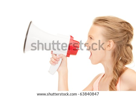 picture of girl with megaphone over white