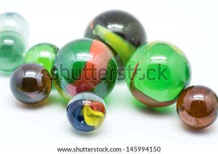 picture of glass marbles on white background
