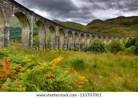 Picture of Glenfinnan Viaduct captured with HDR technique, Scotland - stock photo