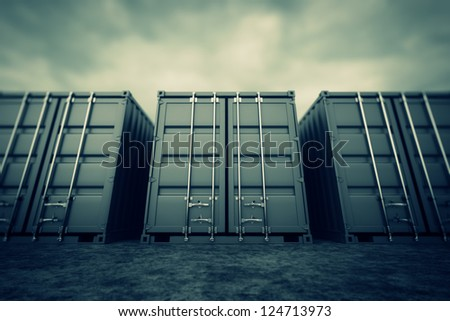 Picture of grey containers in the row.