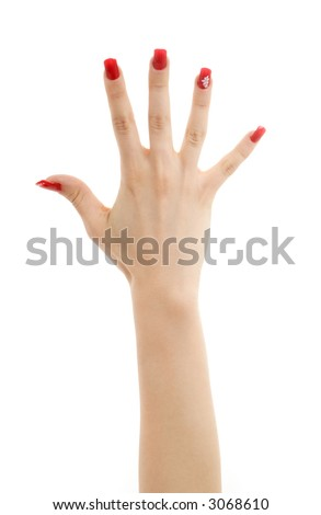picture of hand with red nails over white - stock photo